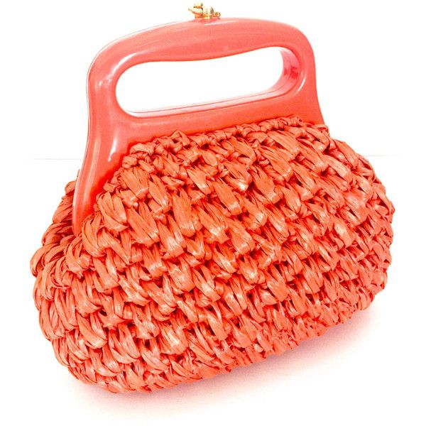 Small Coral Woven Raffia Straw Handbag, Lucite Handle, Labeled Made in... (160 PLN) ❤ liked on Polyvore featuring bags, handbags, red handbags, man bag, handbag purse, hand bags and vintage straw handbags
