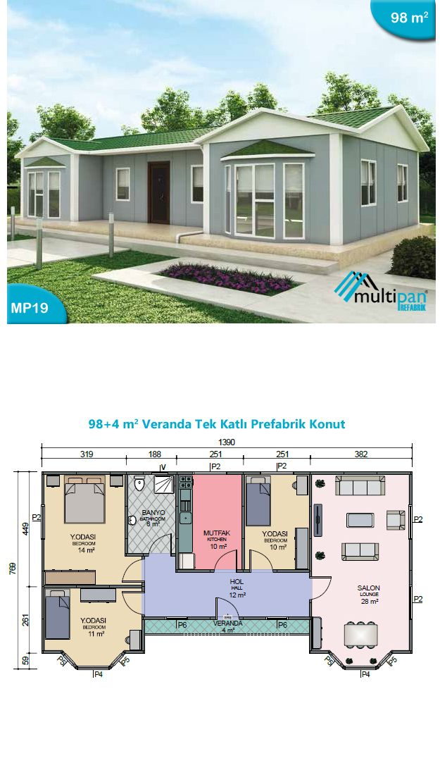 Mp19 98m2 4m2 3 bedrooms 1 bathroom separate lounge for House plans with separate office entrance