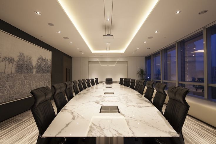 SCA. Boardroom. Large meeting room. Marble conference table with integrated power. Wilkhahn