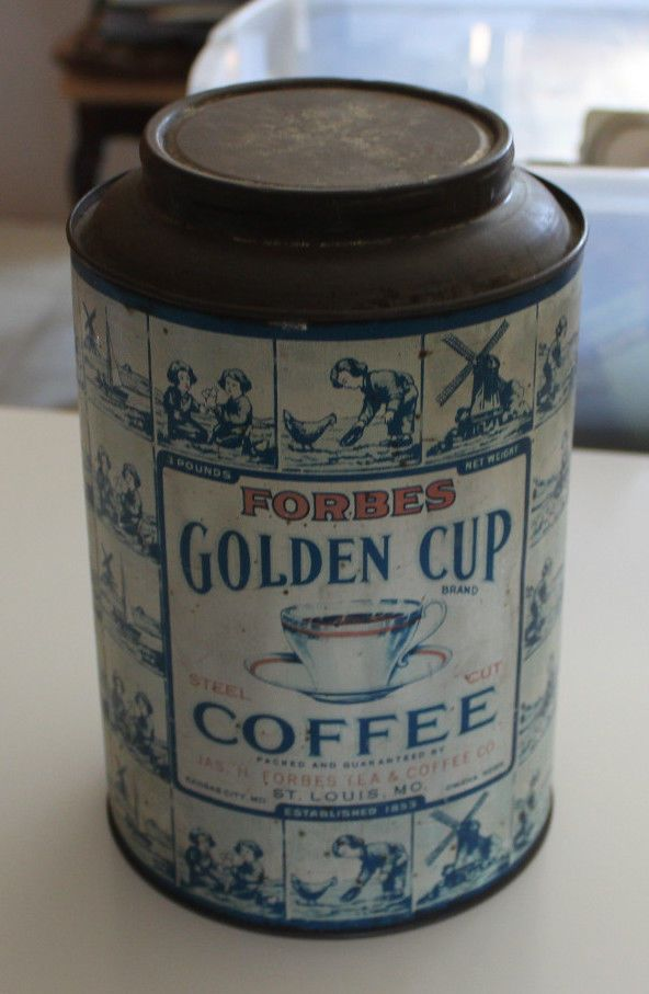 Vintage FORBES GOLDEN CUP 3lb COFFEE TIN CANCO