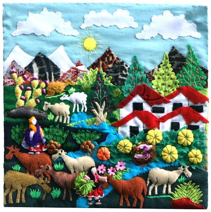 Mountain Village Harvest Scene Arpillera