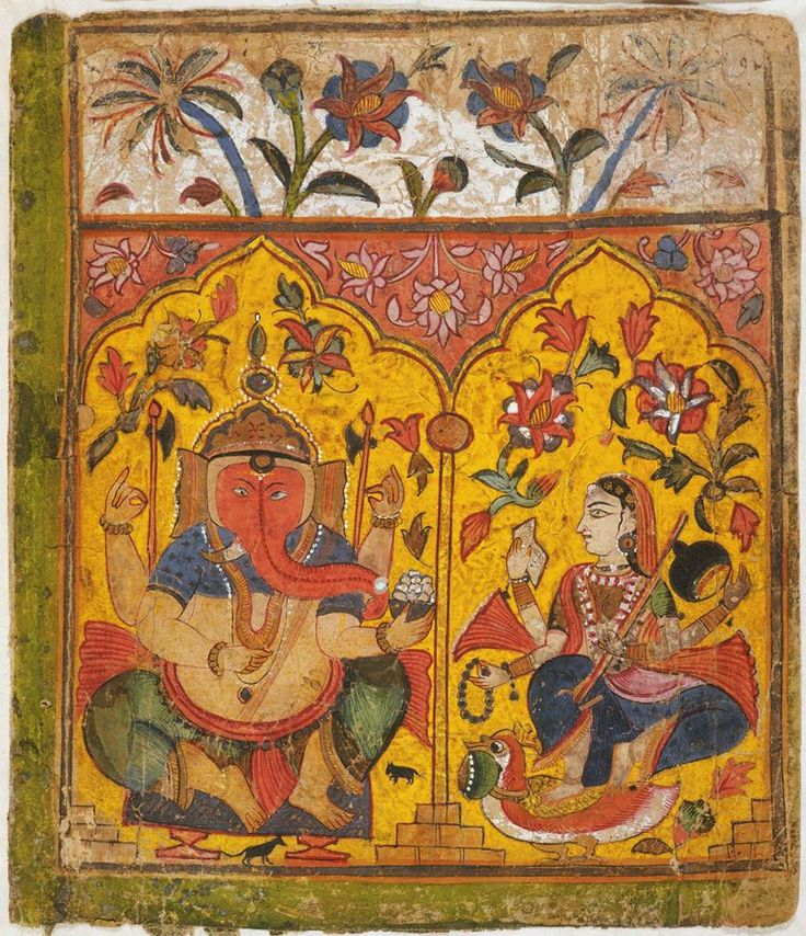 Ganesha and Sarasvati, Opening page of a Bhagavata Purana (Story of the Lord Vishnu). Gujarat India. miniature painting opaque watercolor and gold on paper.