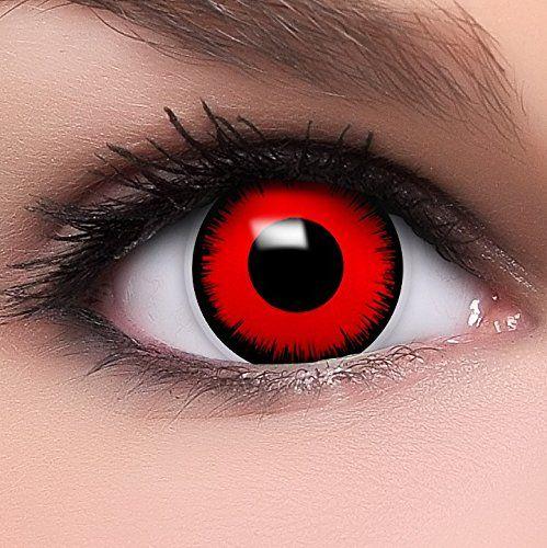 FUNZERA Lentilles de Contact Sans Correction de Couleur Noir-Rouge «Volturi Vampire» + 10ml Solution + Récipient: HAUT NIVEAU QUALITATIF…