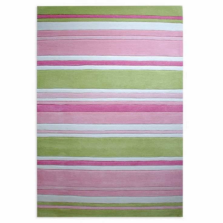 Striped Kids Rug In Zesty Green And Pink Shades This Childrens Brightens Ups A