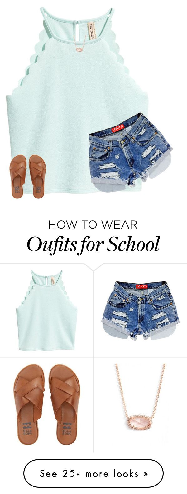 """I'm out of school for summer break!!!"" by kiahgates on Polyvore featuring Billabong and Kendra Scott"