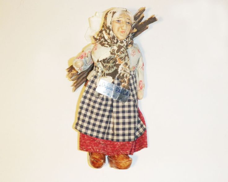 Vintage, Ravca, French Peasant Cloth Doll, Woman Carrying Bundle of  Sticks