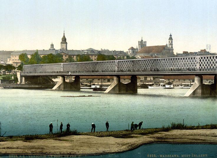 Iron Bridge over Vistula in Warsaw (c. 1900). This framework bridge was constructed by Stanisław Kierbedź in 1850-1864.
