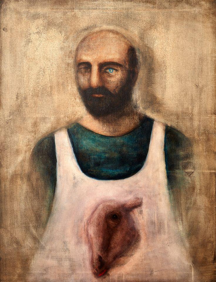 "Apostolis Itskoudis, ""Butcher"" (Χασάπης), acrylics on canvas, 70Χ90 cm, 2016."