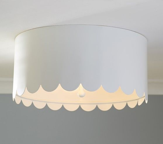 Scalloped White Metal Flushmount | Pottery Barn Kids...not just for kids anymore; use in bathroom or laundry room