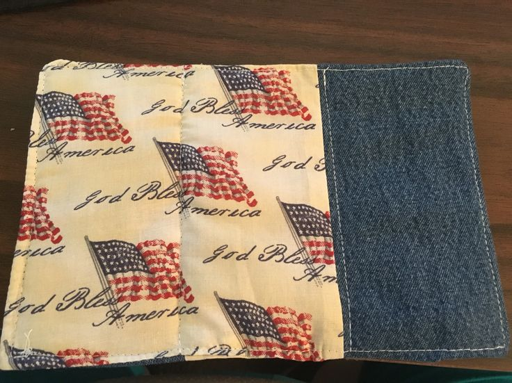 Mug Rug made with God Bless America fabric and recycled denim. The back was made exactly like the front so it is reversible.
