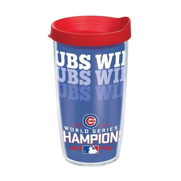 Chicago Cubs 2016 World Series Champions 16 Oz. Cubs Win Tumbler with Lid  #ChicagoCubs #Cubs #FlyTheW #WorldSeries SportsWorldChicago.com