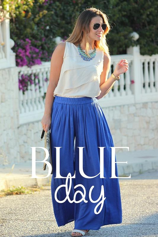 Blue day - Falda larga azul