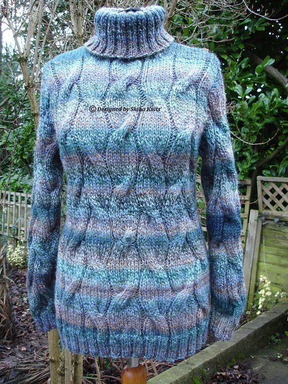 Hand Knitted Sweater Cabled Sweater Chunky Pullover Chunky