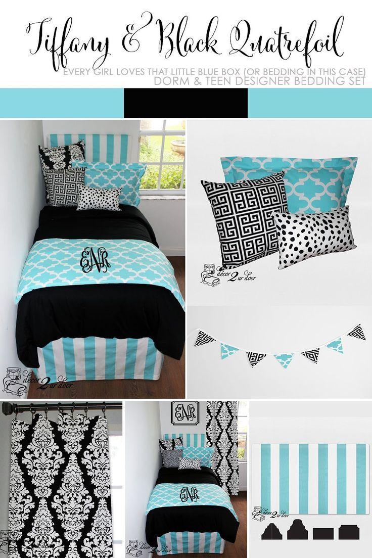 Tiffany Blue U0026 Black Damask Designer Dorm Bedding Set Part 65