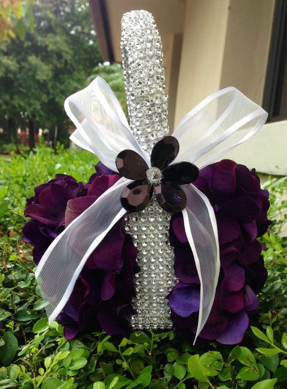 Eggplant Flower Girl Basket By TheCrystalFlower Flower Girl