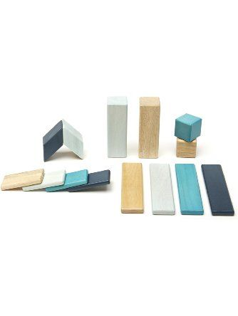 14 Piece Tegu Magnetic Wooden Block Set, Blues ❤ Tegu Toys