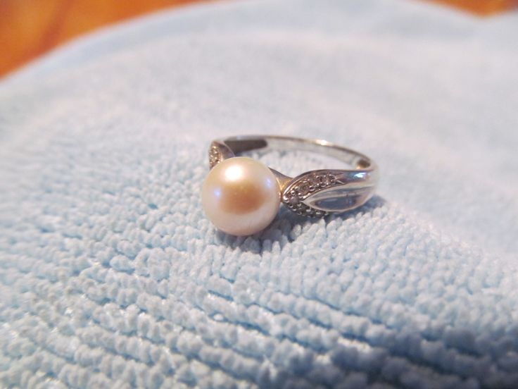 NEW PRICE! Free Ship. - Vintage White gold pearl ring 10k with diamonds accents by LaDameauxBijoux on Etsy