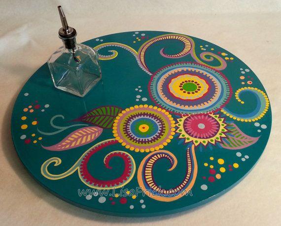 Lazy Susan 4-pintado a mano 18 diámetro remolinos y