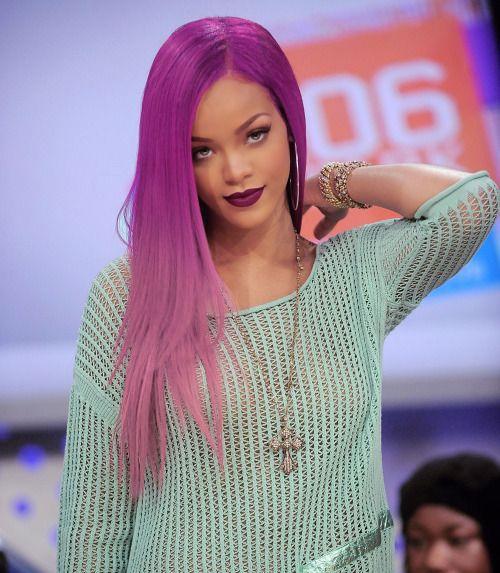 Rihanna long hair pink hair