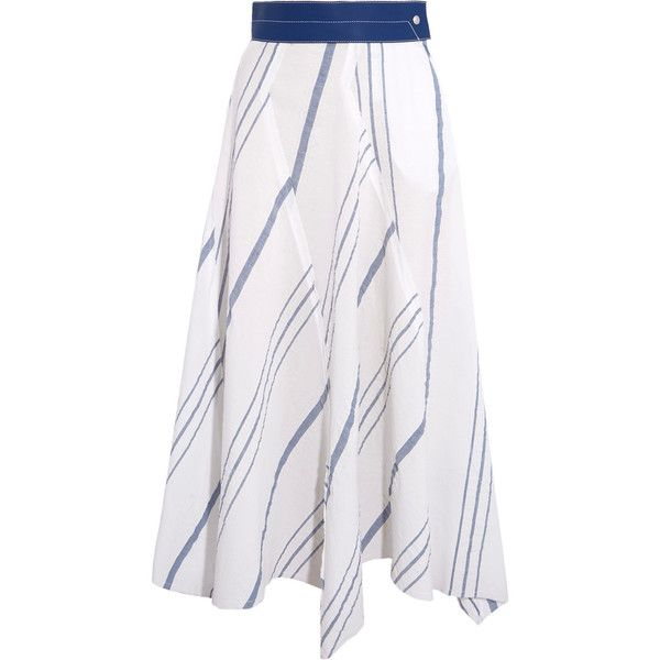 Loewe Leather-trimmed striped cotton and linen-blend midi skirt (18 635 ZAR) ❤ liked on Polyvore featuring skirts, white, white knee length skirt, button midi skirt, white midi skirt, white skirt and stripe midi skirt