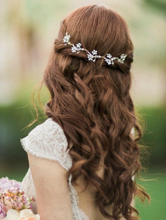 Cherry Blossom- bridal vine- wedding vine hairpiece- floral vine headpiece- bridal vine headpiece- c