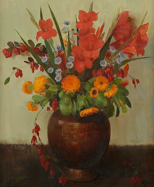 Marta Rudbeck Autumn Flowers Early 20th Century Still