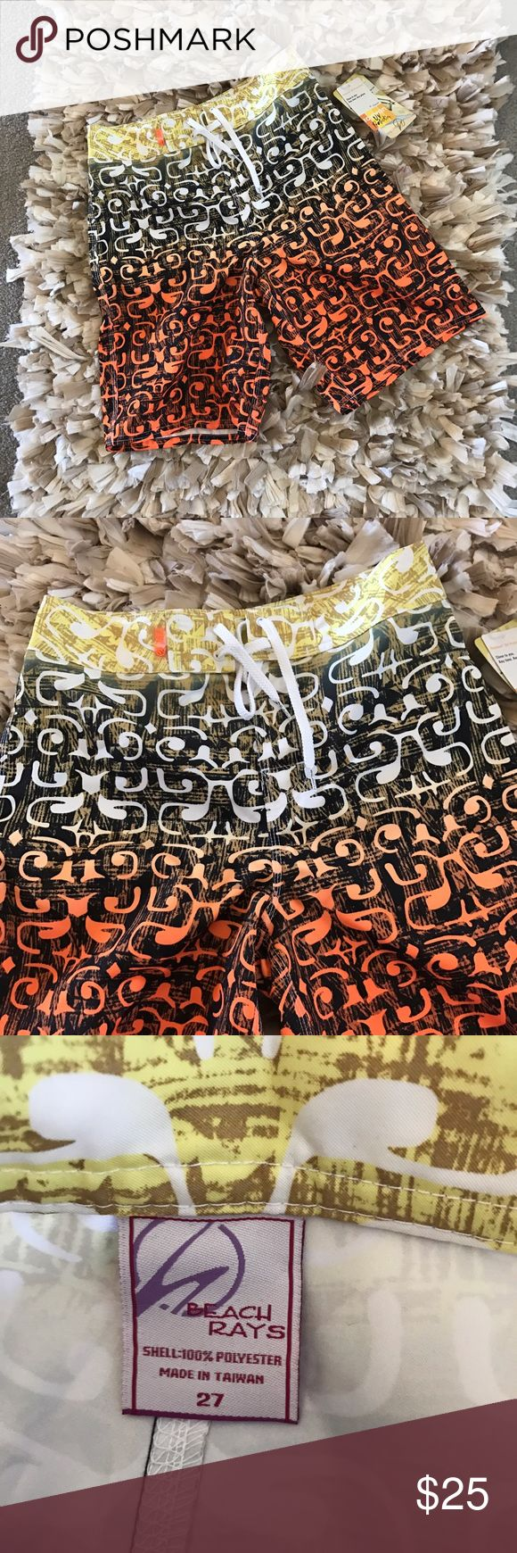 Rayo Sun Beach rays guys board shorts Rayo Sun Beach rays guys board shorts size 27 waist. New with tags. Features drawstring and Velcro front and back side pocket.  UV protection line,  Measurements: Waist to bottom 19.5 in. Inseam 10 in. Thigh measurement 22in. Swim Board Shorts