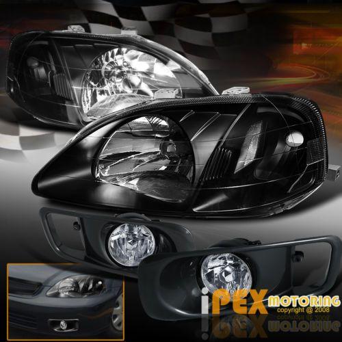 1999-2000-EK9-Honda-Civic-JDM-Black-Headlights-Type-R-Style-Bumper-Fog-Lights