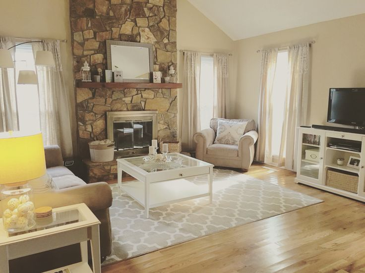 ikea liatorp living room with neutrals from target and splitface stone fireplace wohnen. Black Bedroom Furniture Sets. Home Design Ideas