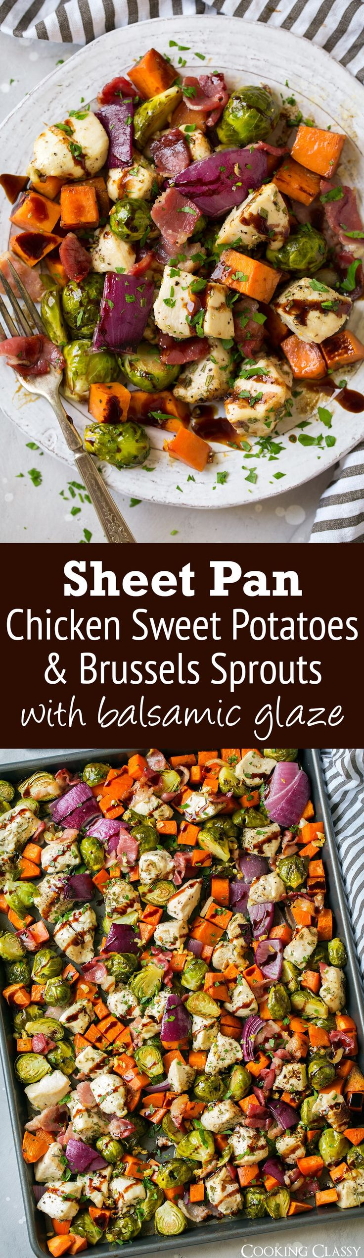 Sheet Pan Chicken Sweet Potatoes and Brussels Sprouts with Bacon and Balsamic Glaze