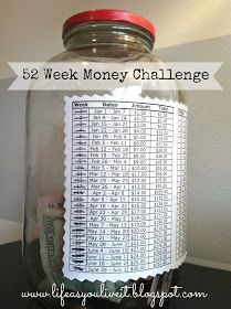 52 WEEK MONEY SAVINGS CHALLENGE - love the save a dollar for every week of the year backwards ($52 1st week of January, $51 2nd week if January.). Perfect to save for Christmas or vacation.