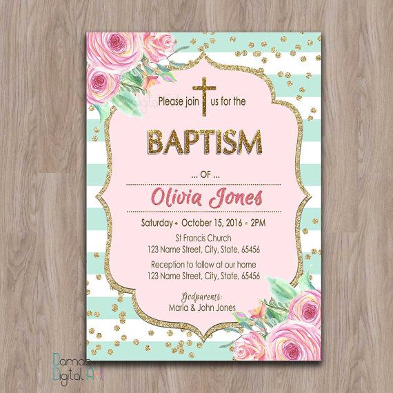 baptism invitation girl printable, girl baptism invitation, baptism invites, baptism girl invitations, pink mint and gold baptism printable
