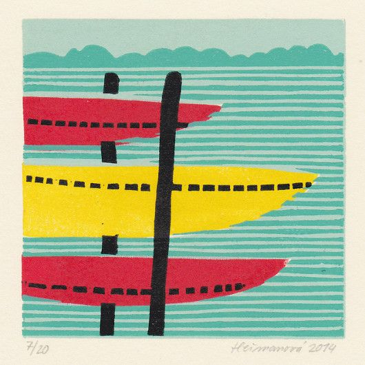 Artistic handmade card from Barbora Heřmanová: Rowing Boats.