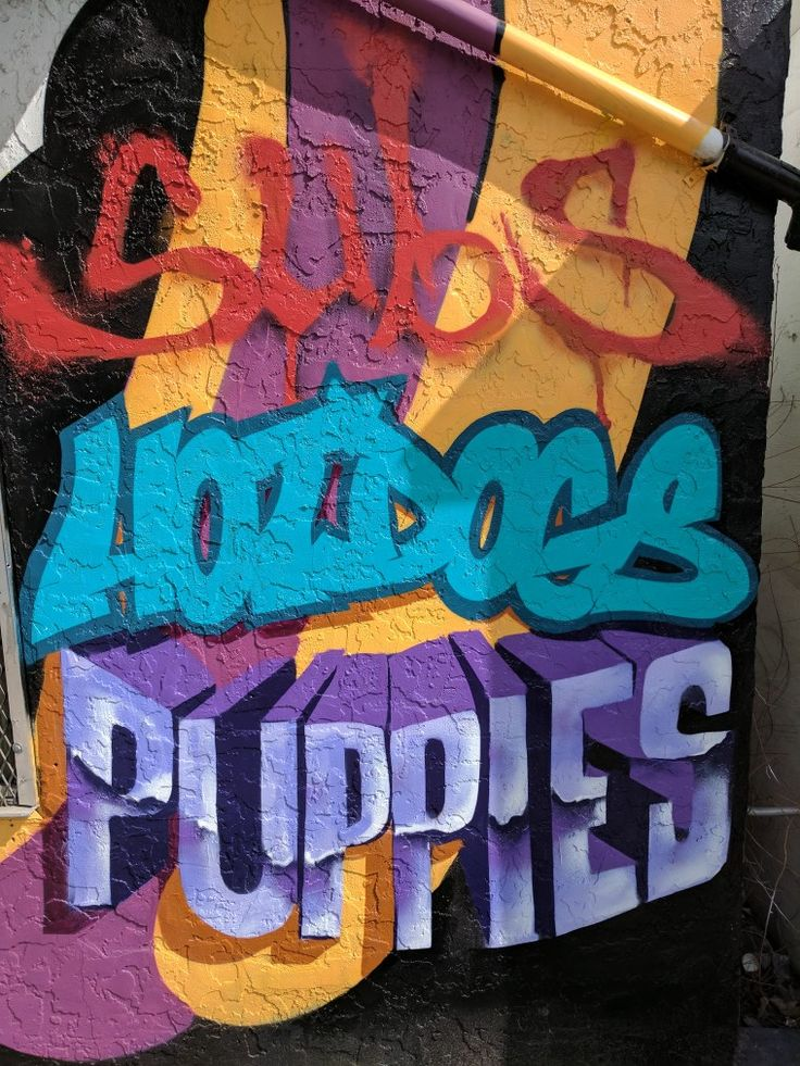 Part of a sign I am working on for Knox Mountain Market.  They don't sell puppies, but they do sell slush puppies!  #art #hotdog #subs #slushpuppies #ants #graffiti #graffitiart #myart #streetart #decor #painting #spraypaint #love #colors #letters #typography #paint #shadows