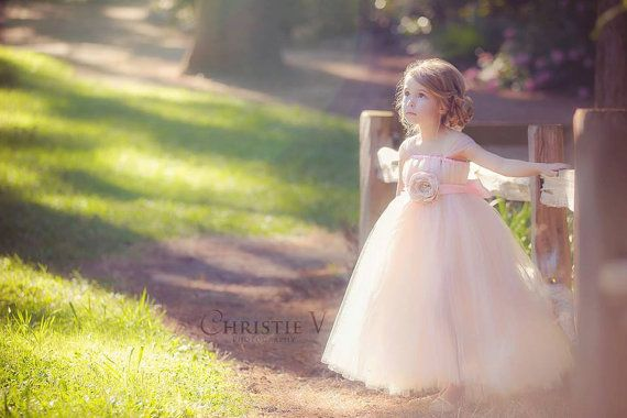 READY to SHIP - Size 3T Tea length - Pink Blush Flower Girl Tutu Dress with Flower Sash