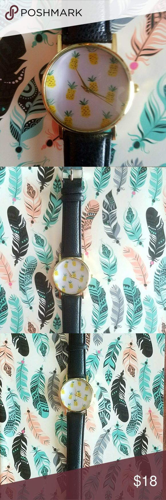 NWT! PINEAPPLE WATCH🍍🍍 WITH LEATHER BAND🍍🍍 NWT Black leather watch band with a stainless steel watch face. Covered with yellow pineapples!!🍍🍍🍍 Perfect for everyday wear! Accessories Watches