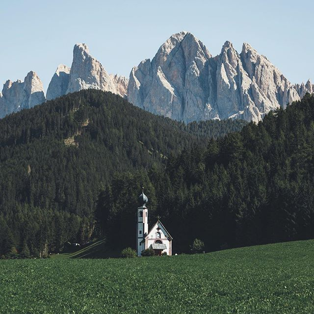 St. Magdalena Church in Villnöss, Dolomites.