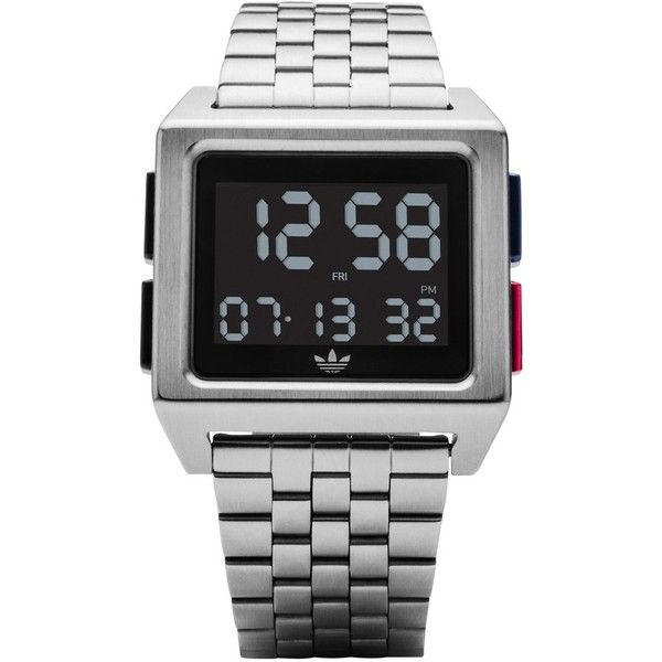 Women's Adidas Archive Digital Bracelet Watch, 36Mm (425 BRL) ❤ liked on Polyvore featuring jewelry, watches, silver, square face digital watches, silver jewellery, 80s jewelry, digital wristwatch and watch bracelet