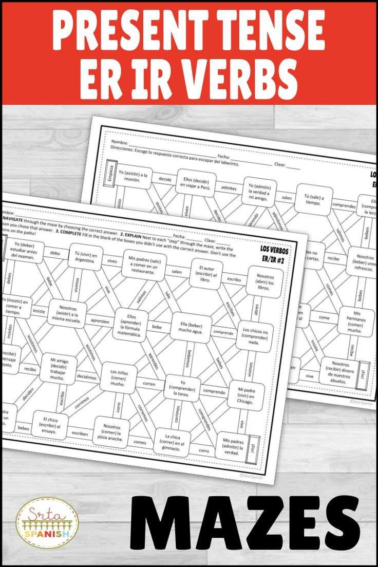 Spanish Present Tense Er Ir Verbs Maze Practice Activity With Digital Option Middle School Spanish Spanish Lesson Plans High School Spanish Lesson Plans [ 1104 x 736 Pixel ]
