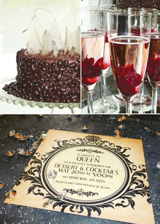 """Love this classy invite for a Disney Villains party. Broken """"glass"""" cake, """"blood-red"""" cocktails."""