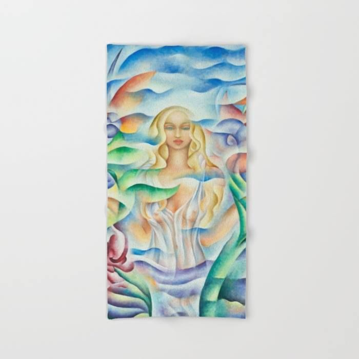 """Beach Towel. Design based on an oil painting by Monique Rebelle.Lay out like a pro with this super comfy, oversized and unique artist-designed Beach Towel. The soft polyester-microfiber front and cotton terry back are perfect for, well, drying your front and back. This design is also available as a bath and hand towel. Machine washable. Towel Dimensions: 74""""x37"""". #bathroom #beach #flowerdesign #relax #floweraura #queen #beauty #magicwoman #female"""