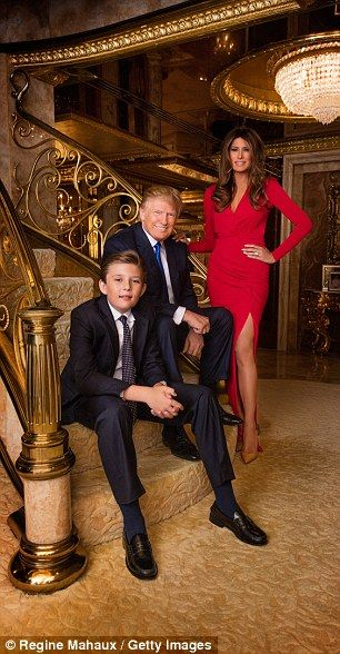 Melania pictured with her husband and son Barron at Trump Tower