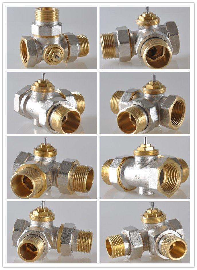Dn25真鍮ラジエーター三方弁; 3ウェイラジエーターバルブ;サーモスタットラジエーターバルブ三方弁