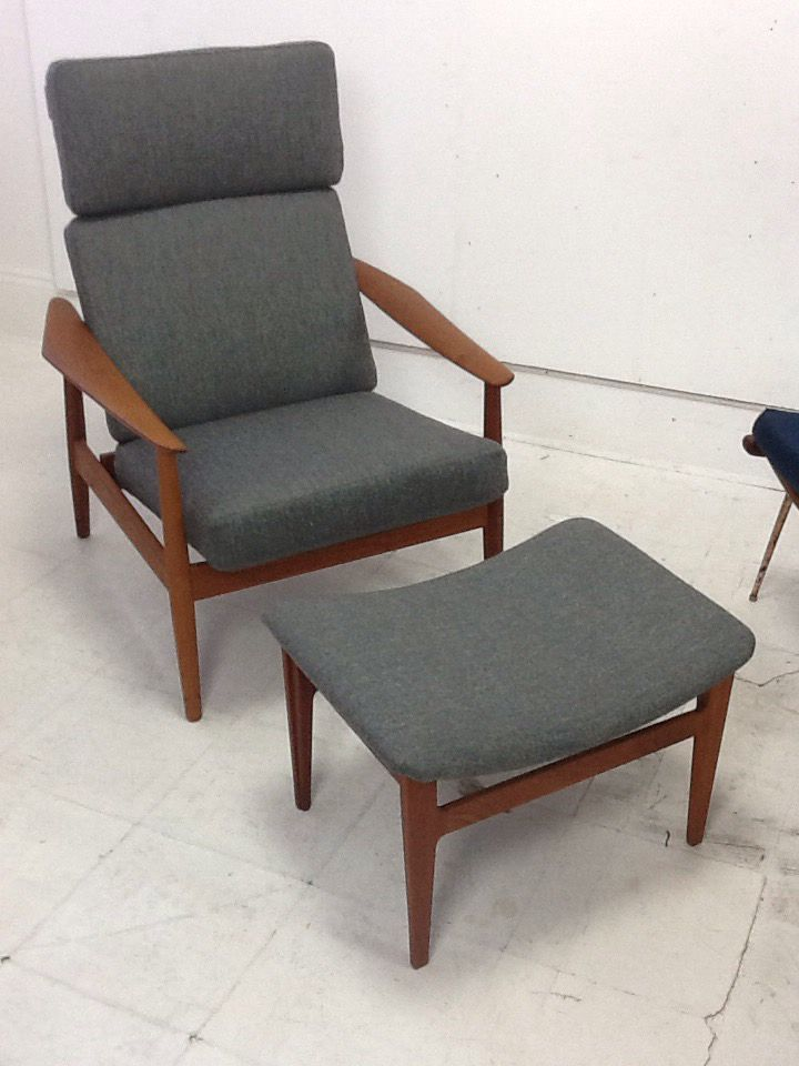 Fully restored to glory after original owner who purchased the chair in 1961 along with some grete jalk chairs, had the original sprung cushions replaced for cheap foam cushions.  It now has the sprung cushions again and has been complete reconditioned.  A lovely chair which can have the back reclined. £1850. http://bit.ly/1OVAftA