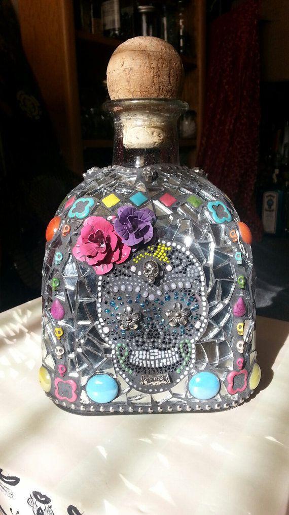 Day of the Dead Patron Bottle Sugar Skull Design by Anitasmosaics