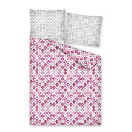 Ružové posteľné obliečky so srdiečkami