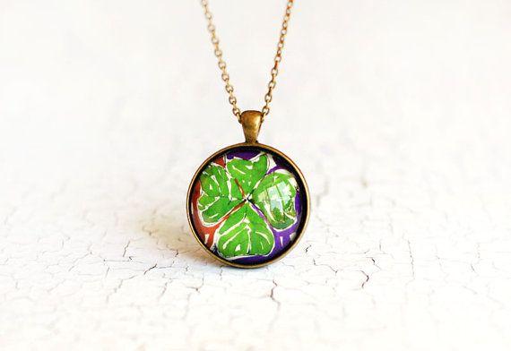 Four Leaf Clover Pendant Art Jewelry Botanical Necklace Glass Medallion  handmade by Evartstudio