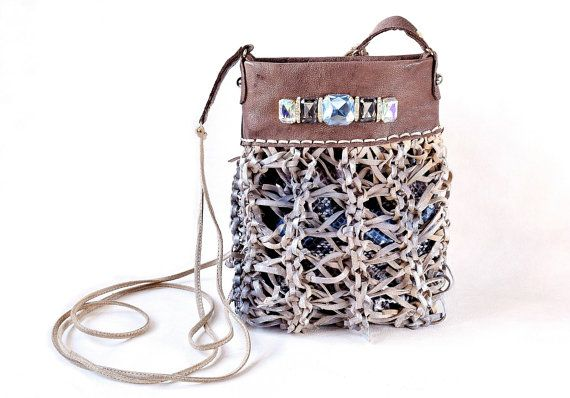 Beige leather iphone purse small crossbody bag by Glad2Balive