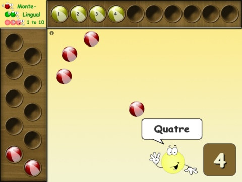 "MonteLingual - A Montessori Counting App by Continuous Integration Apps ($1.99) Monte-Lingual 1 to 10 is designed to introduce the most basic (but crucial) concept of numbers by a counting activity that employs various senses such as touch, sight, and sound to conceptualize ""quantity"" and ""series"" in a visual way. While absorbing the concept of counting, children can learn the numbers in multiple languages (i.e. English, Spanish, French, and Chinese)."