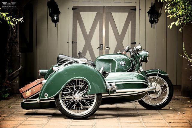 I don't know the official name of this motorcycle, but it is so beautiful....and with a side-car! (or whatever they call them now) Love the colors!